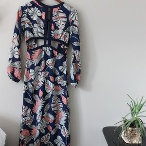 Palm fron long sleeved maxi dress